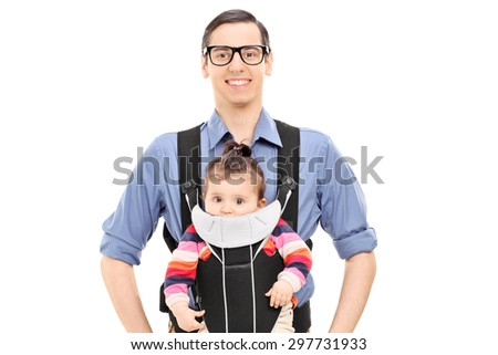 Young joyful father posing with his baby daughter isolated on white background - stock photo