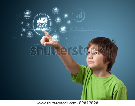 young kid pressing promotion and shipping type of modern buttons - stock photo