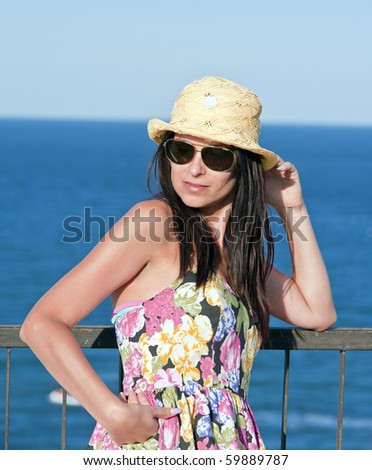 Young lady at different times of expression and gestures - stock photo