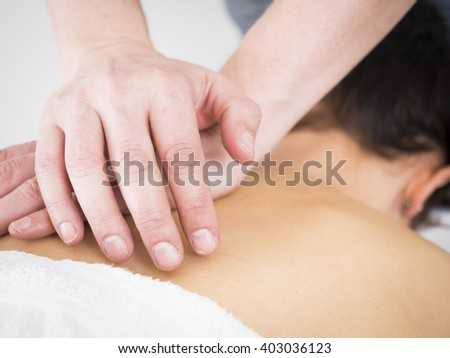 Young Lady at Massage Parlor - stock photo