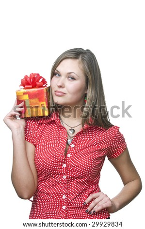 Young lady holding a gift , isolated on white - stock photo