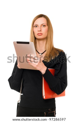 Young lady in black with the pda - stock photo