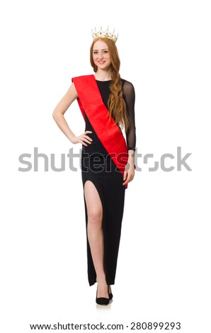 Young lady in elegant black dress isolated on white - stock photo