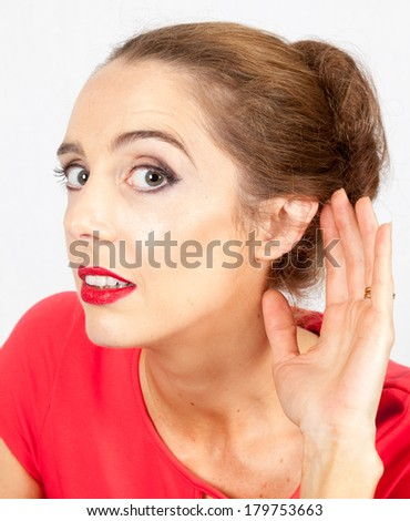 young lady paying close attention to what is being said - stock photo