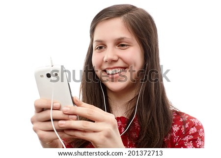 Young lady searching something on a smart phone - stock photo