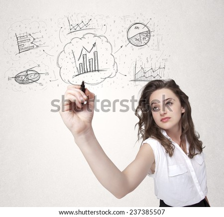 Young lady sketching financial chart icons and symbols on white background - stock photo