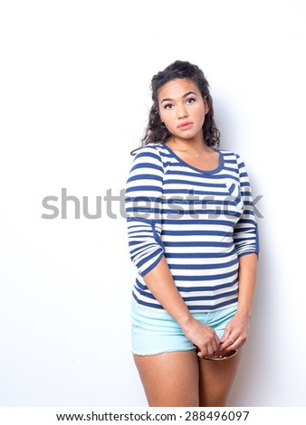 Young lady with fresh look and fun summer outfit - stock photo