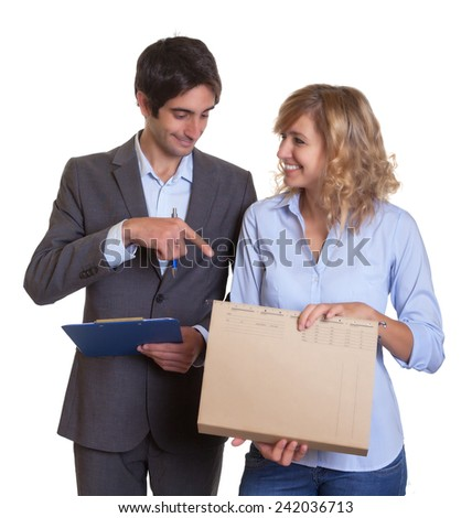 Young latin business team at work - stock photo