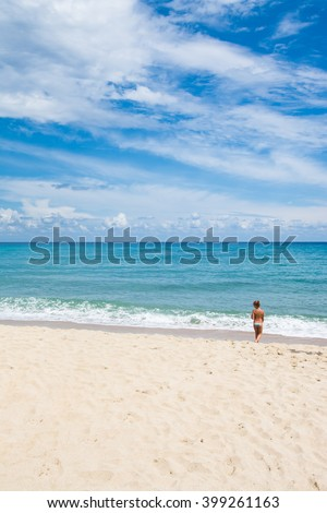 Young little child in a beach vacation - stock photo