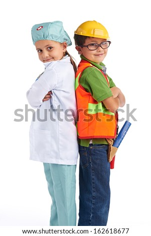 Young little doctor and engineer - stock photo