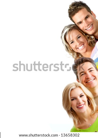 Young love people smiling. Over white background - stock photo