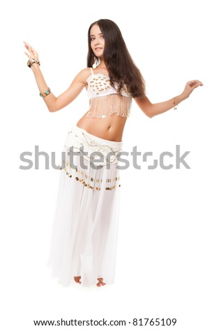 young lovely woman belly dancer. studio shot. - stock photo