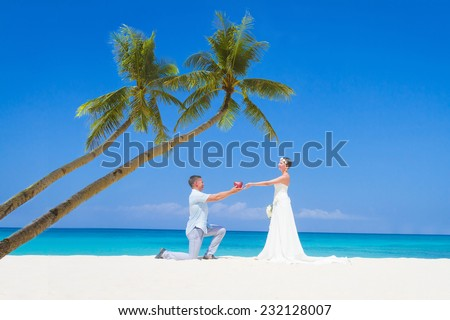 young loving couple bride and groom, on wedding day on tropical sand beach, beach wedding concept - stock photo