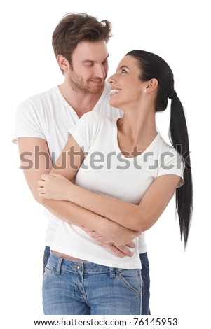 Young loving couple smiling happily to each other.? - stock photo