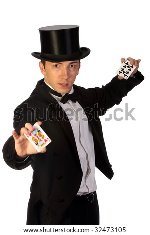 young magician performing with cards on white background - stock photo