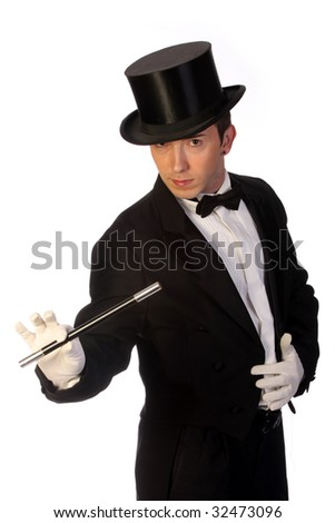 young magician performing with wand on white background - stock photo