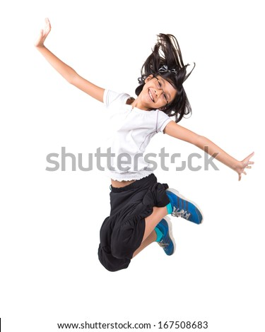 Young Malay Asian girl jumping over white background - stock photo