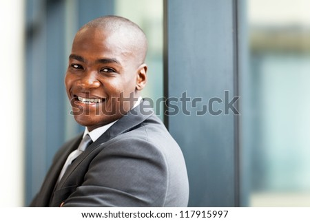 young male african american business owner closeup portrait - stock photo