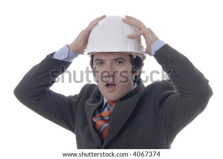 young male architect withe hat, with deep white... - stock photo