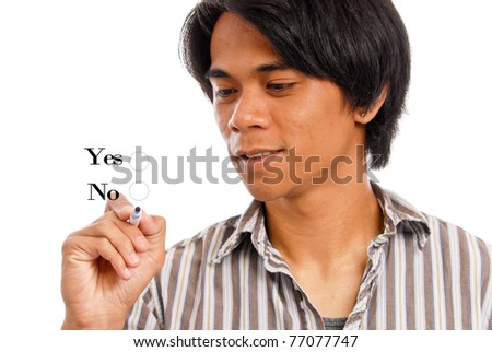 Young Male Choosing His Options - stock photo