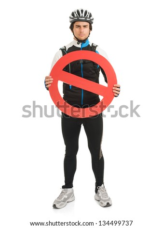 Young Male Cyclist Holding Road Sign Isolated On White Background - stock photo