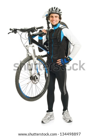 Young Male Cyclist With His Bicycle Isolated On White Background - stock photo
