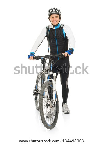 Young Male Cyclist With His Bike Isolated On White Background - stock photo