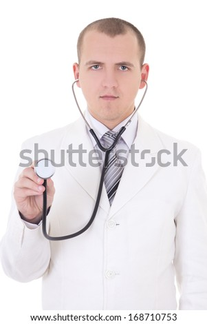 young male doctor using stethoscope isolated on white background - stock photo