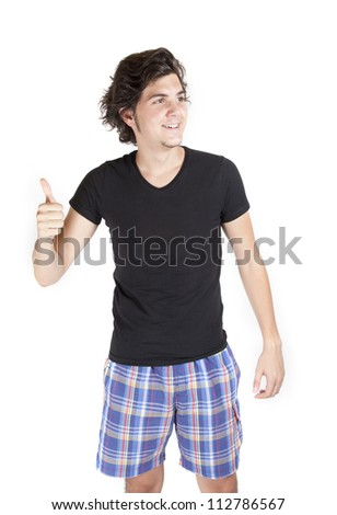Young male making thums up - stock photo