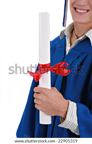 Young Male Man Holding Graduation Certificate Closeup Isolated - stock photo