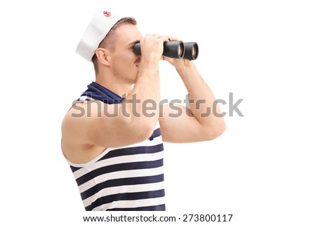 Young male sailor with a striped shirt and a sailors hat looking through binoculars isolated on white background - stock photo