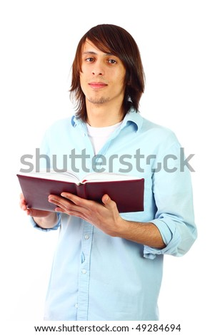 Young male student posing on the studio - stock photo