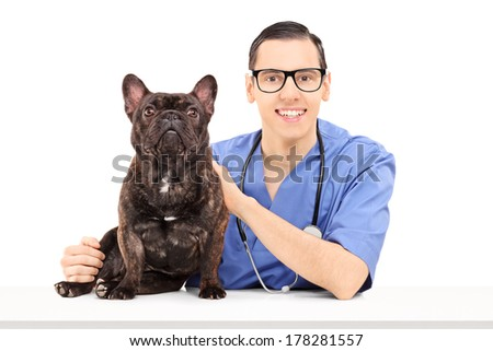 Young male veterinarian posing with bulldog on table isolated on white background - stock photo