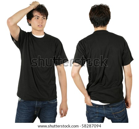 Young male with blank black t-shirt, front and back. Ready for your design or logo. - stock photo