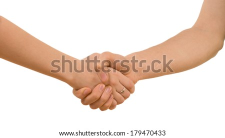 Young man and woman with bare arms shaking hands clasping each other tightly, closeup view of the handshake isolated on white - stock photo
