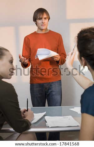 Young man at audition - stock photo