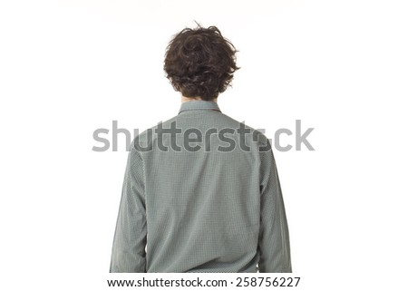 Young Man Back Portrait. - stock photo