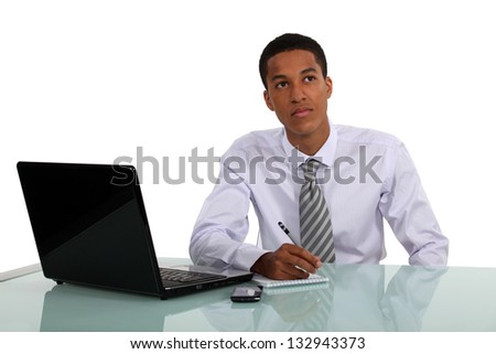 Young man brainstorming - stock photo