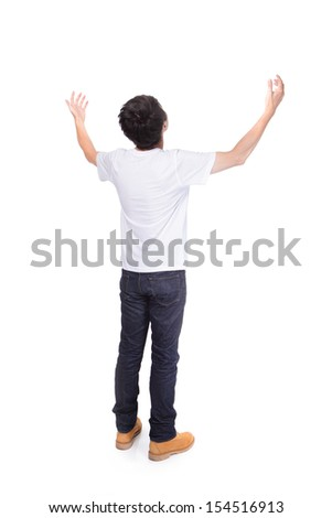 young man carefree outstretched arms isolated on white background, healthy lifestyle concept, asian people - stock photo