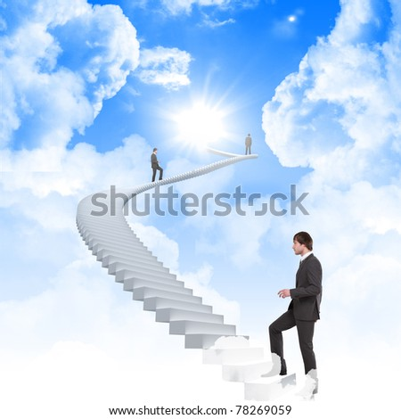 young man climbs the stairs. Humor, collage. - stock photo