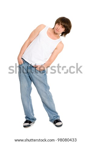 Young man dancing in a free style - stock photo