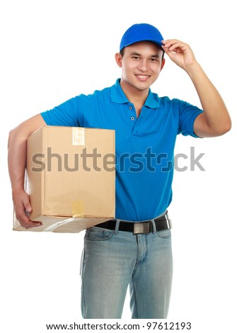 Young man delivery in blue uniform with packages isolated on white - stock photo