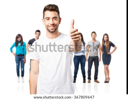 young man doing okay symbol - stock photo