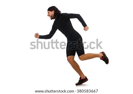 Young man doing sports isolated on the white - stock photo