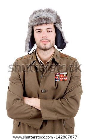 young man dressed as russian drunk, studio - stock photo