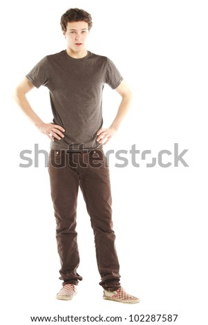Young man dressed with hip style against white background - stock photo