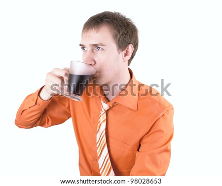 Young man drinking coffee on a white. - stock photo