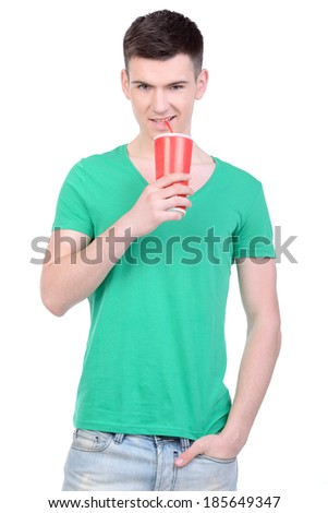 Young man eating fast food isolated on white background - stock photo