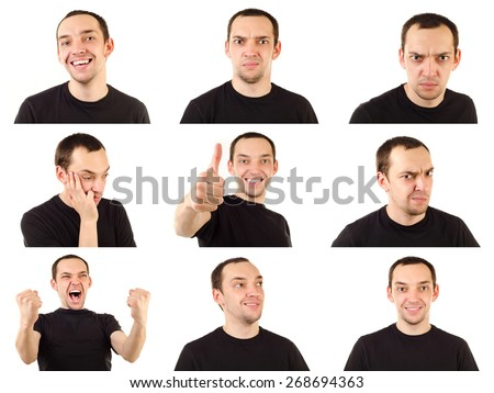 young man emotions collection isolated on white - stock photo