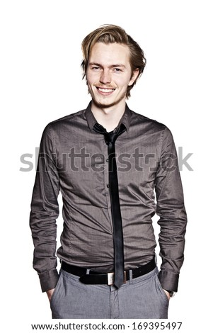 Young man expression portrait. Studio photo of young man making a funny face. - stock photo